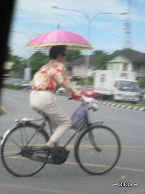 Most Chinese people prefer fair skin. This auntie wears long sleeves and long pants, and carry an umbrealla when cycling. It takes guts to bike on the road with heavy traffic though. And of course she has to use a fuchsia umbrella. :)