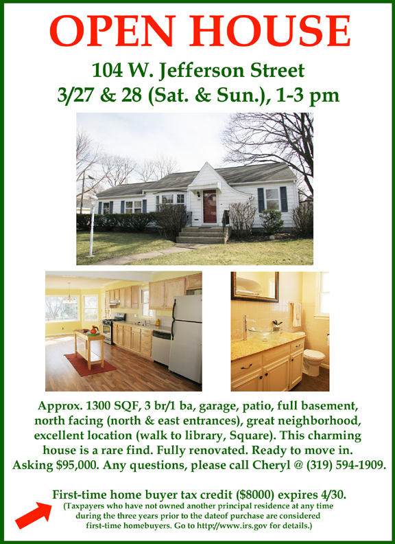 Open House 104 West Jefferson 3/27 & 3/28 1-3pm