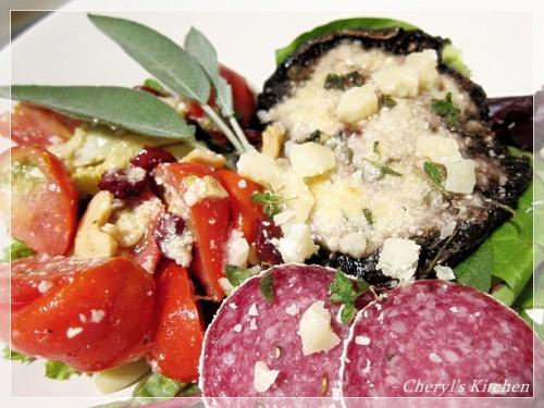 Baked Portobello Mushroom with Tomato Salad