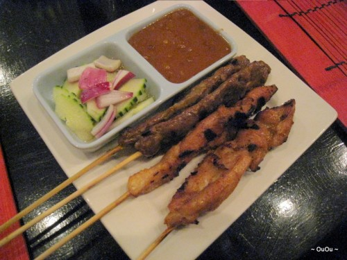 Beef satays for me. Chicken satays for Karan.