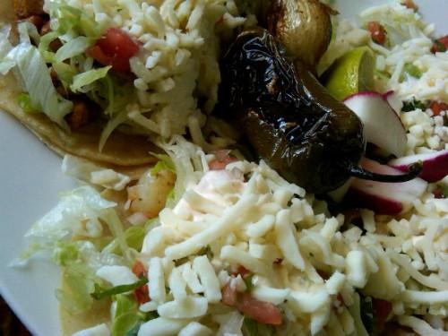 Shrimp tacos & roasted jalapeño