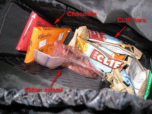 Food in backpack
