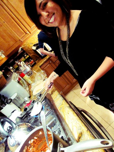 Danielle making tortilla