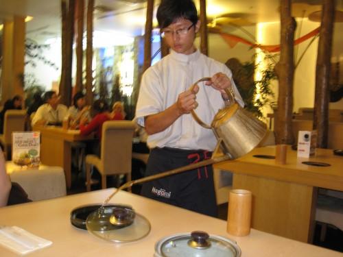 Server adding stock of your choice to the pot (Nagomi, Kuala Lumpur, Malaysia)