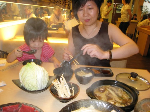 My sister and my niece (hot pot cooking lesson for kids? :))