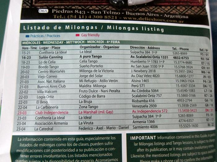Milonga Schedule in Buenos Aires